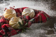 Mini Cakes holidays, on red checkered cloth Royalty Free Stock Photos