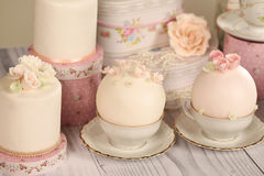 Mini cakes with icing Stock Photos