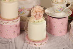 Mini cakes with icing Royalty Free Stock Photos