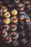 Mini cakes served Royalty Free Stock Photo