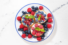 Mini cakes with sweet cream and berries on plate, top view Royalty Free Stock Photography