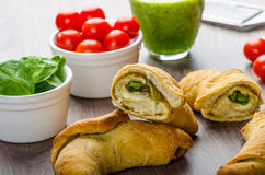 Mini Calzone roll with herbs and cheese Stock Photos