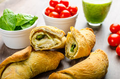 Mini Calzone roll with herbs and cheese Royalty Free Stock Images