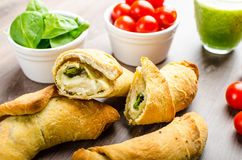 Mini Calzone roll with herbs and cheese Stock Photo