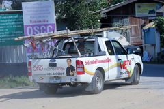 Mini camion de nous société de TV Photos stock
