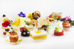 Mini canap with elements of molecular kitchen Stock Photos
