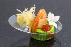 Mini canape com elementos da cozinha molecular fotografia de stock royalty free