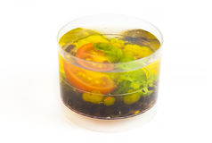 Mini canape with elements of molecular kitchen Royalty Free Stock Photography