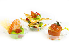 Mini canape with elements of molecular kitchen Stock Images