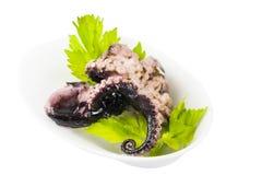 Mini- canapes med skaldjur och grönsaker och örter och i plast- Royaltyfri Foto