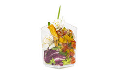 Mini canapes in plastic cups Royalty Free Stock Photo