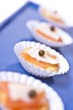Mini Canapes saumonés Images stock