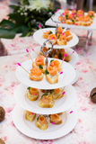 Mini canapes with smoked salmon Stock Photography
