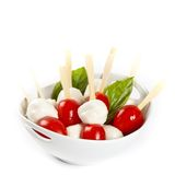 Mini caprese. Finger food. Royalty Free Stock Images