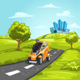 Mini car on asphalt road Royalty Free Stock Photo