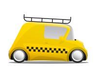 Mini car cartoon yellow taxi Stock Images