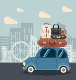 Mini Car dans la ville Photographie stock libre de droits