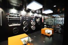 Mini car parts stand. Mini car parts pavilion Stock Images