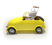 Mini car with teapot Stock Photos