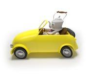 Mini car with teapot Stock Photos