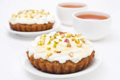 Free Mini Carrot Cake With Mascarpone, Honey, Pistachios, Black Tea Stock Image - 33281961