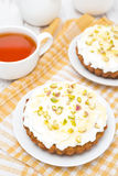 Mini carrot cakes with cream of mascarpone, honey and tea Royalty Free Stock Photography