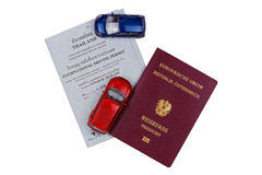 Mini cars, Austrian passport on International Driving Permit, mo Royalty Free Stock Image
