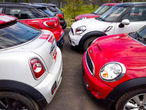 Mini cars for sale. Mini cars in dealership for sale Royalty Free Stock Photo