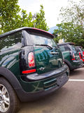 Mini cars for sale. Mini cars in dealership for sale Royalty Free Stock Photos