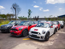 Mini cars for sale. Lined up Mini cars in dealership for sale Stock Images