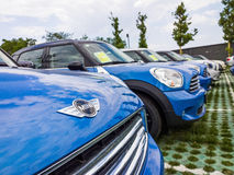Mini cars for sale in showroom Stock Photos