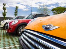 Mini cars for sale in showroom. Mini cars in dealership for sale Royalty Free Stock Images