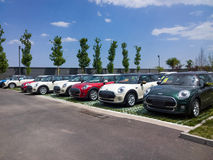 Mini cars for sale in showroom Stock Photo