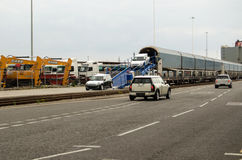 Mini Cars unloaded, Southampton Docks Stock Photos