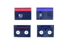 Mini cassetta rossa e blu di DV fotografie stock libere da diritti