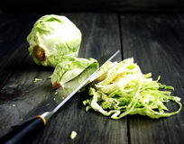 Mini cavolo che tagliuzza coltello Fotografia Stock