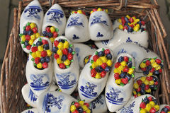 Mini ceramic wooden shoes Royalty Free Stock Photos