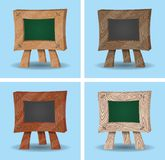 Mini Chalkboard Cartoons - de madeira Imagens de Stock Royalty Free
