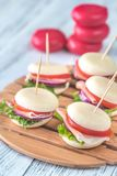 Mini cheese and prosciutto sandwiches Royalty Free Stock Photos