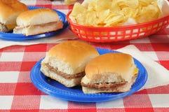 Mini cheeseburgers sur une table de pique-nique Images stock