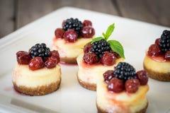 Mini cheesecake with cherry Royalty Free Stock Photo