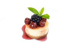 Mini cheesecake with cherry Royalty Free Stock Image