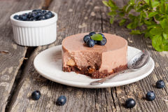 Mini-cheesecake and chocolate biscuits and blueberries. Close up, horizontal Stock Images