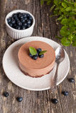 Mini-cheesecake and chocolate biscuits and blueberries. Close up, vertical Stock Images