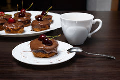 Mini cheesecake with chocolate and cherry. Cheesecake with chocolate and cherry stock image