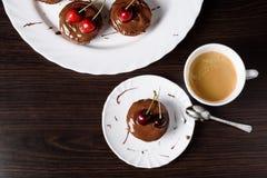Mini cheesecake with chocolate and cherry. Cheesecake with chocolate and cherry stock photography