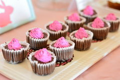 Mini-cheesecake with chocolate and jam. Stock Photography