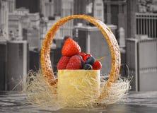 Mini cheesecake New-York with white chocolate and fresh berries Stock Images