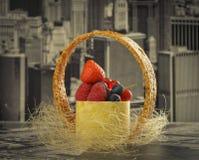 Mini cheesecake New-York with white chocolate and fresh berries Stock Image