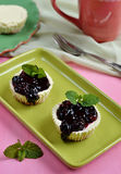 Mini cheesecakes with blueberry topping sauce Stock Photos